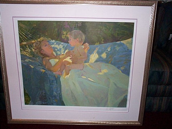 23: Framed print depicting an Impressionist painting of