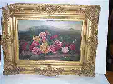 24: Nineteenth century oil on canvas depicting a bouque