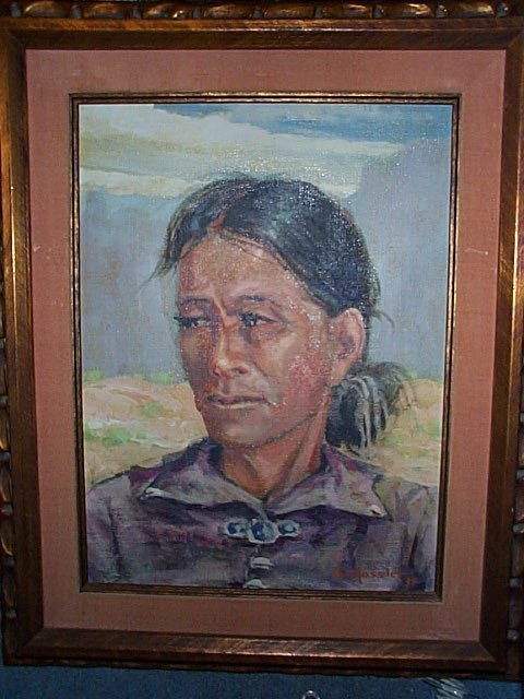 29A: Oil on Canvas depicting a Native American Woman si