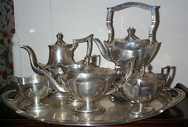 5: Gorham Plymouth 7 piece sterling silver tea set cons