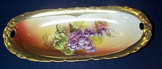 13: Bavarian China hand-painted with grapes bread dish