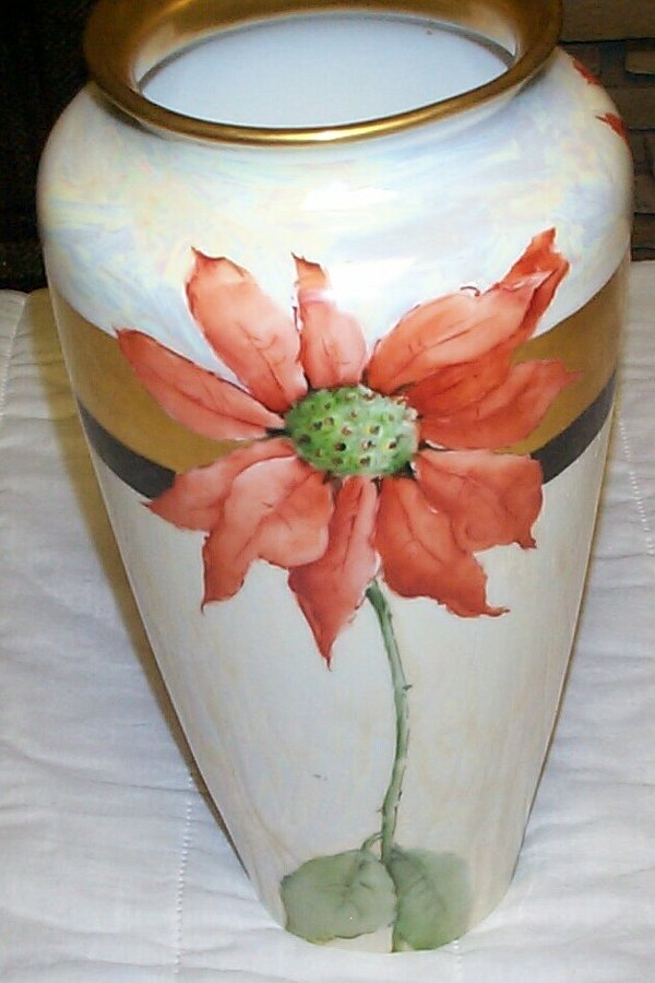 22: TV Limoges hand-painted tall vase with poinsettias