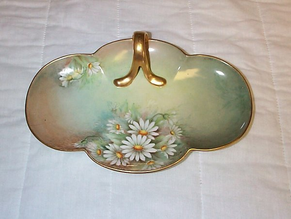 23: M & Z Austria hand-painted candy dish with applied