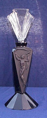 56: Marked R. Lalique France black amethyst perfume bot