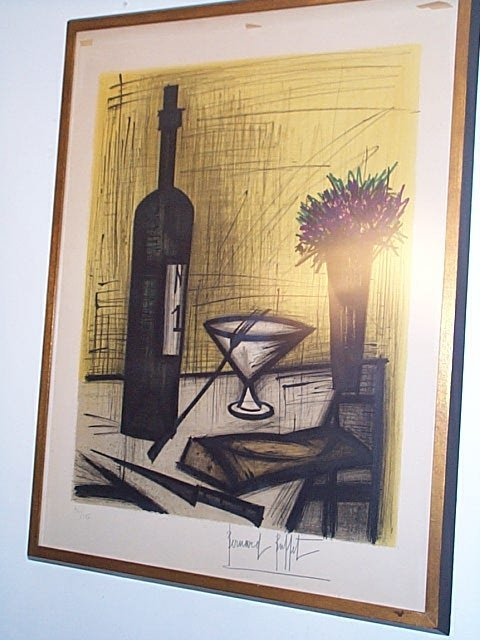 48: Signed lithograph depicting a bottle of wine with a