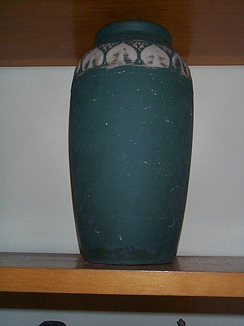 1008: Monmouth Pottery, art pottery tall vase.  Measure