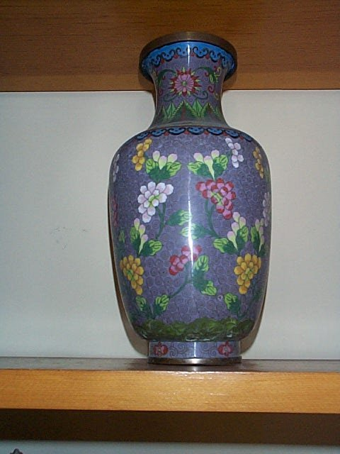 1009: Cloisonne tall vase signed, China, .  Measures 13