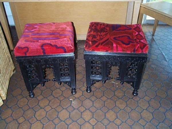 "1107: Pair of Victorian stools.  Measures 19.5"" tall by"