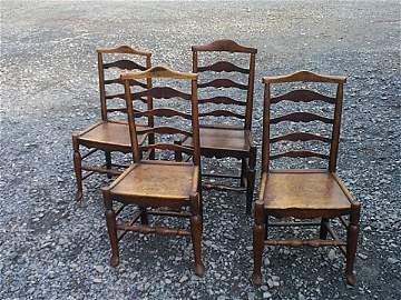 1165: Set of four, eighteenth century side chairs.  Mea