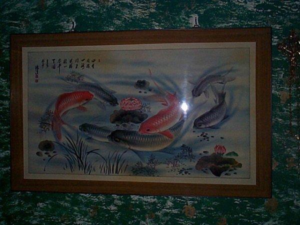 207: Oriental Lucite picture depicting fish.  Measures