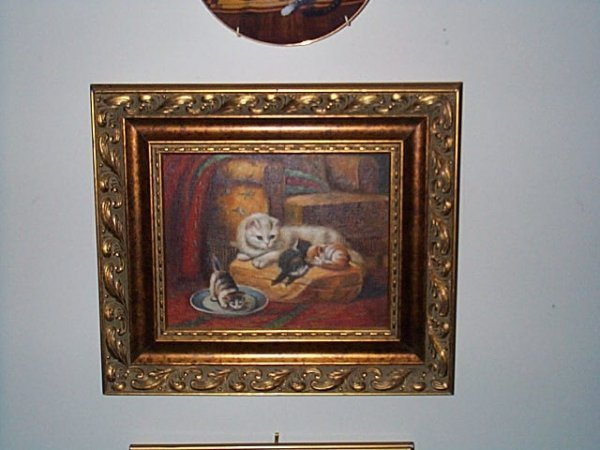 214: Contemporary oil on board depicting a mother cat w