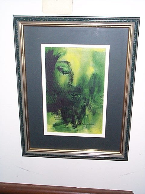 216: Watercolor signed, Marge Low, 1974.  Depicts an ab