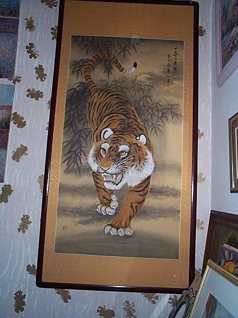 217: Monumental, Oriental watercolor on silk painting.