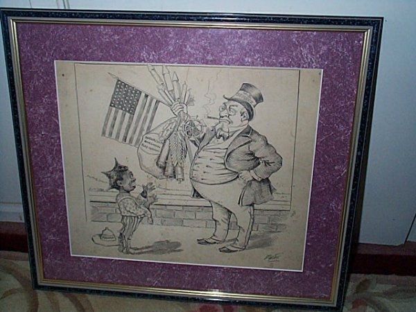 220: Framed original political cartoon art done in pen