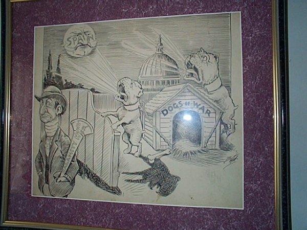221: Framed original political cartoon art done in pen