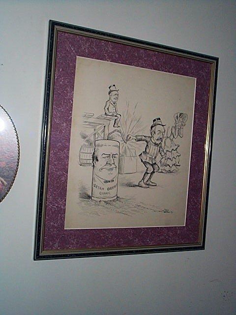 222: Framed original political cartoon art done in pen
