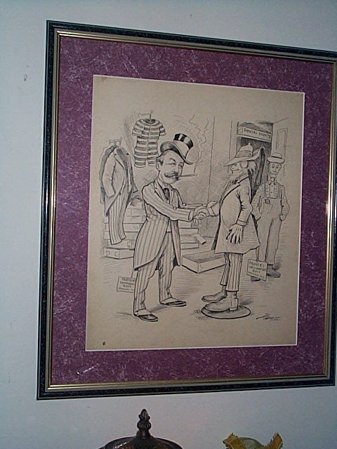 223: Framed original political cartoon art done in pen