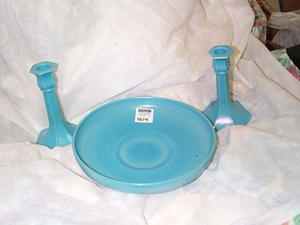 1014: Blue milk glass console set.  Its is iridescent c