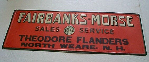 "24: Antique tin sign ""Fairbanks-Morse Sales Service The"