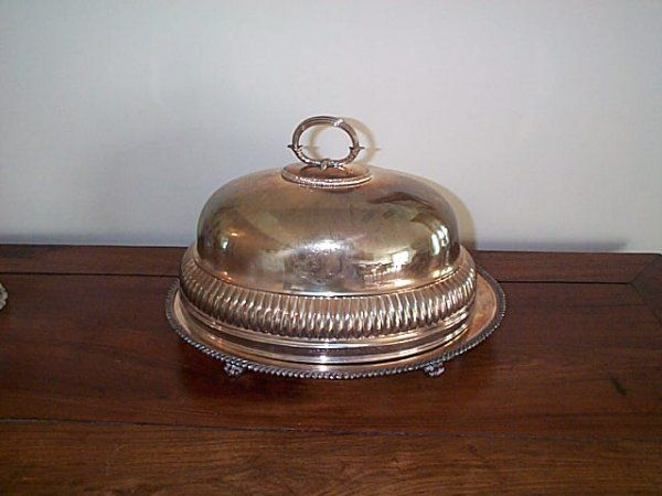 441B: Silver-plate covered serving dish.  Top signed Sp