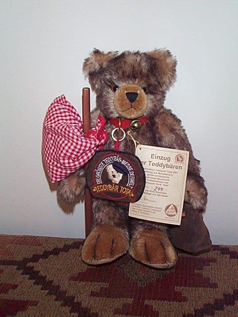 "1006: 11"" Mohair jointed teddy bear.  Signed Einzug Der"