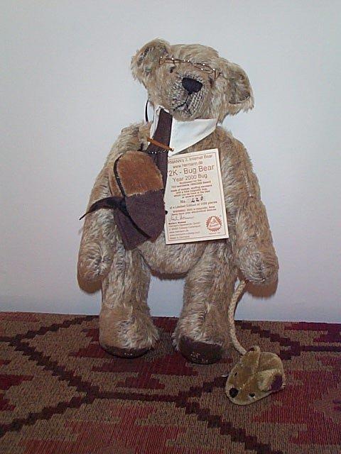 "1009: 15"" Hermann mohair jointed teddy bear with a lady"