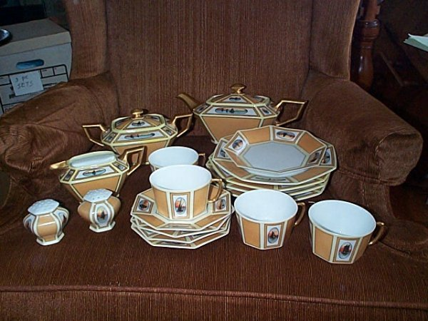 2001: 18 Piece Art Deco hand-painted tea set.  Mostly s