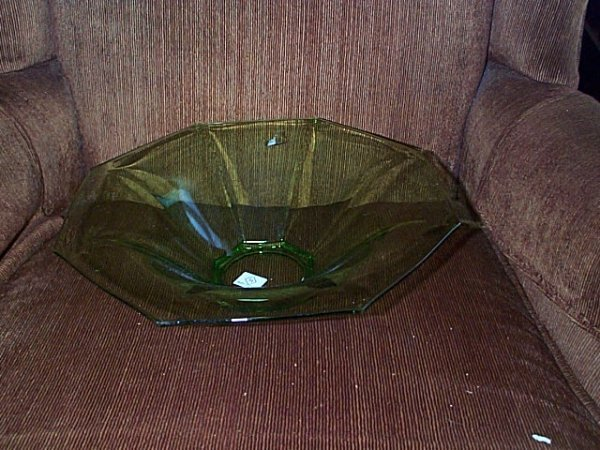 2005: Signed Heisey Green Depression center bowl.  12""
