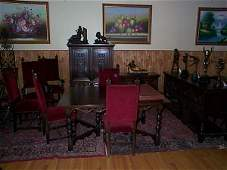 2196: super clean 1920's walnut carved dinning room se