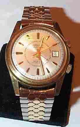 Guren gold filled men's precision alarm wrist watch,