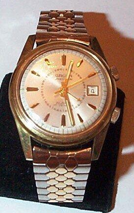 1: Guren gold filled men's precision alarm wrist watch,