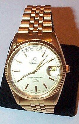 2: Elgin gold filled quartz men's wrist watch with gold