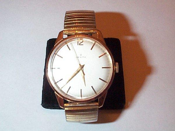 6: 18K pink gold Zenith men's wrist watch with gold fil
