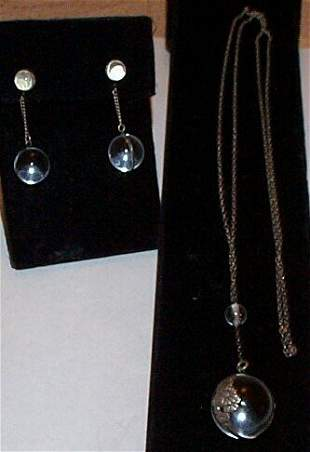 Silver rock crystal necklace and earring set, 21.5