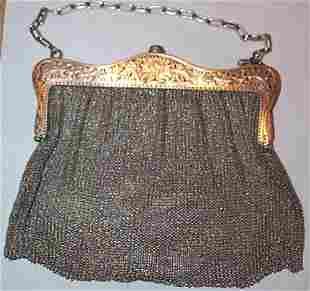 Silver Art Nouveau mesh evening bag circa 1900, 8.3