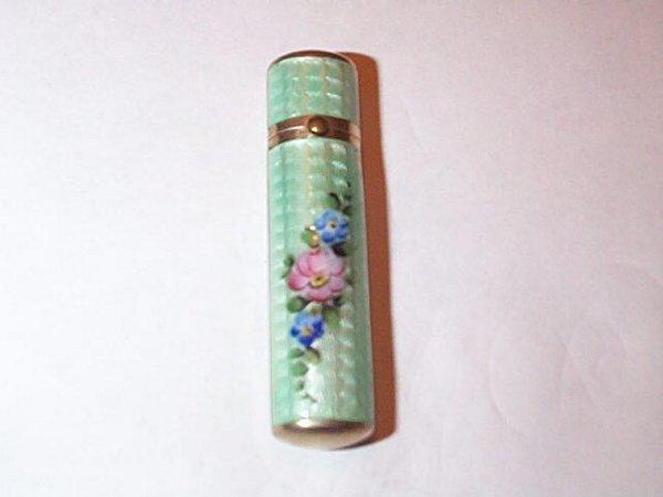 15: Vermeil and Guilloche enamel lip stick holder, meas