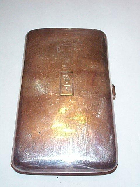 19: Sterling silver cigar box monogrammed WT, measures