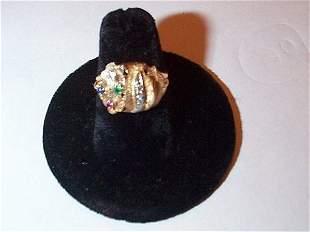 14K yellow gold diamond dome ring with emerald, rub