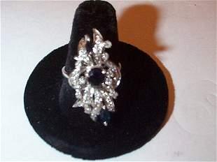 14K white gold sapphire and diamond ring, 31 diamon