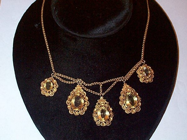 48: 14K yellow gold lemon citrine 5 drop swag necklace,