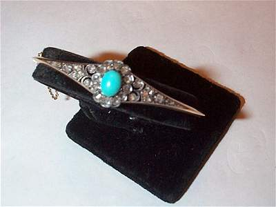 51: 18K yellow gold Victorian rose diamond and turquois