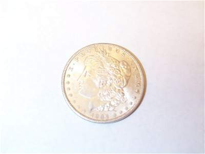 339: US 1897O Morgan Silver Dollar, AU+