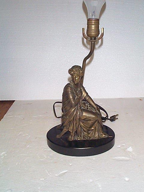 508: Bronze figural table lamp, figure measures 9 in ta