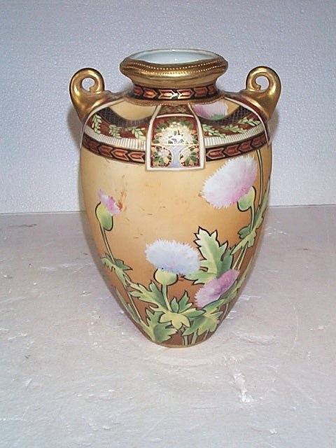 511: Hand painted double handled tall vase signed Nippo