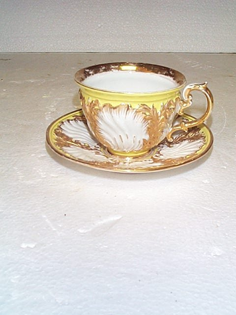 512: Meissen cup and saucer, measures 3 in tall by 6 in