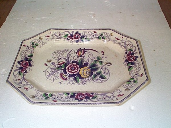 513: Signed Paradise LP & Co. Ironstone platter with fl