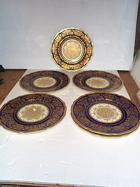 514: Lot of 6 Bohemia Royal Ivory cobalt blue with gold