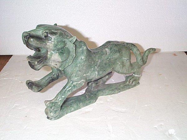 521: Hand carved Jade tiger figurine, measures 9 in tal