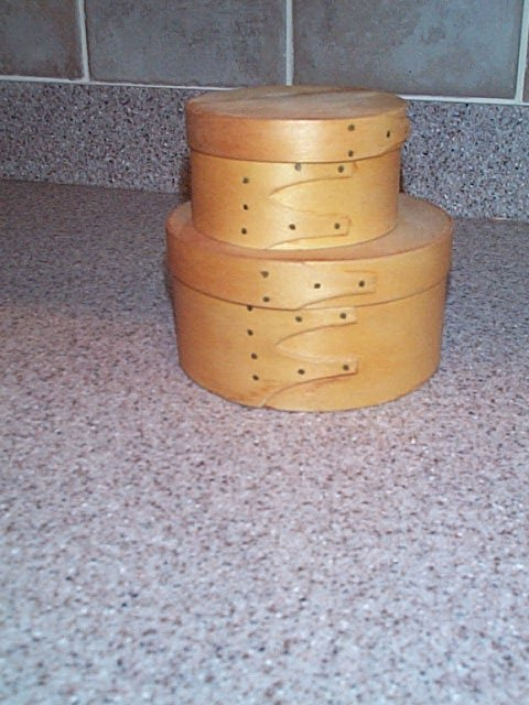15: lot of (2) 20th century wooden cheese containers on