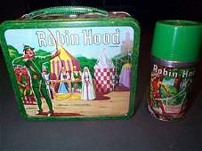 707: 1956 Robin Hood Lunch Box WIth Thermos